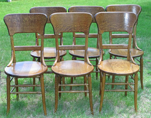 Barn on 26 Featured Item: 12 Oak Ice Cream Chairs Sold as 2 Sets of 6 or Complete Set of 12